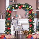 Immagine diArco natalizio con luci 180 LED Festone natalizio per porta in PVC con fiori decorati 228x203cm