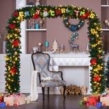 Immagine diArco natalizio con luci 200 LED Festone natalizio per porta in PVC con fiori decorati 274x243cm