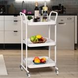Immagine diCarrello multiuso a 3 ripiani da cucina in acciaio scaffale portaoggetti da bagno con 4 ruote