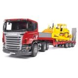 Afbeelding vanBruder Scania vrachtwagen met oplegger en CAT bulldozer 1:16