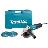 Afbeelding vanMakita 9558HNRGK2 Haakse slijper 125mm 840w met 2 diamantschijven