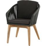 Afbeelding van4 Seasons Outdoor Santander Dining Tuinstoel Teak Rope Black Grey