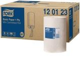 Afbeelding vanPoetsrol Tork M1 120123 1laags 21.5x120m 11rollen wit Dispensers