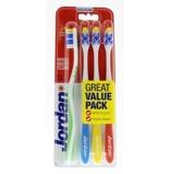 Afbeelding vanJordan Tandenborstel Total Clean Medium 4 pack stuks