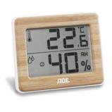 ZdjęcieADE Bamboo 10 x 8 cm brÄzowy termometr pokojowy / wewnÄtrzny elektroniczny plastikowy z higrometrem