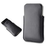 Afbeelding vanMuvit Pocket Slim Leather Pouch Black voor Apple iPhone