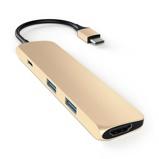 Afbeelding vanSatechi SLIM TYPE C Multiport Adapter Goud dock voor laptops