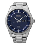 Afbeelding vanSeiko SNE361P1 Solar herenhorloge Seiko herenhorloge horloge Hoge Marge Blauw