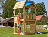Imagine dinChildrens Wooden Climbing Frame for Small Garden Jungle Barn Fireman's Pole