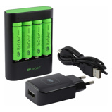 Afbeelding vanGP Snellader U421 inclusief 4 oplaadbare AA batterijen
