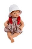 Billede afAsi Guille drenge dukke Med rødt hår, fin blomstret heldragt og hue 36 cm.