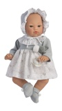 Billede afASI Koke babypige 36 cm Grå og hvid kjole med bamseprint, kyse og sut Nordisk design