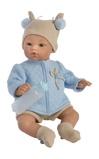 Billede afAsi Koke babydreng i lyseblå termojakke, strikhue, bukser og med sutteflaske 36 cm Nordisk Design
