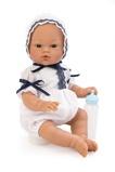 Billede afAsi Koke babydreng i hvid dragt, kyse og med sutteflaske 36 cm