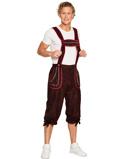 """Bilde av""""Brun Oktoberfest Lederhosen med Røde Detaljer"""""""