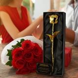 Afbeelding van24krt Gouden Roos Zwarte doos