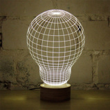 Afbeelding van3D Illusie Lamp Gloeilamp Hout