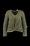 Image deFSTVL by MS Mode Mesdames T shirt manches longues au décor boutonné Vert