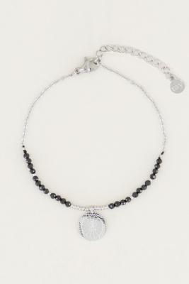 Afbeelding van armband bedel & black onyx, met edelsteentjes