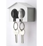 Afbeelding vanSparrow Keyring The Couple Witte en Zwarte Vogel van Qualy Design