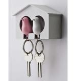 Afbeelding vanSparrow Keyring The Couple Witte en Roze Vogel van Thinkinge