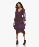 Obrázekba&sh Dress Purple Gypsie Printed Chiffon Midi