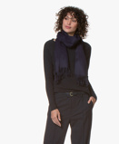 Image deAlpaca Loca Scarf Uni in Dark Blue with Fringes