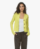 Image of Joseph Cardigan V neck in Chartreuse Cashmere