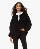 ObrázekAmerican Vintage Cardigan Zabidoo Oversized Kid Mohair Blend in Black