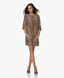 Image deEquipment Dress Beige Aubrey Silk Mini with Leopard Print