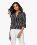 Image deEquipment Blouse Essential Striped Silk in True Black
