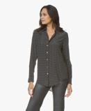 Image deEquipment Blouse Essential Silk in Black / White Dots