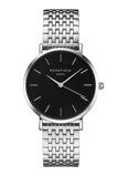 Afbeelding vanRosefield The Upper East Side Black Silver horloge UEBS U25 dameshorloge Zilverkleur