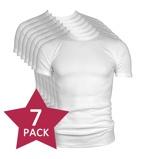 Afbeelding van7 pack Beeren t shirt korte mouw ronde hals wit.