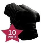 Afbeelding van10 pack Beeren t shirt korte mouw V hals Zwart.