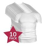 Afbeelding van10 pack Beeren t shirt korte mouw ronde hals wit.