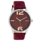 Afbeelding vanOOZOO C10378 Horloge Timepiece Collection Burgundy Croco 45 mm