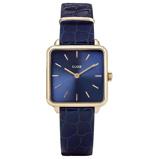 Afbeelding vanCLUSE CW0101207028 La Tétragone horloge dameshorloge Blauw,Goudkleur