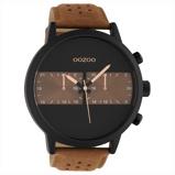 Afbeelding vanOOZOO C10518 Horloge Timepieces staal/leder brown black 50 mm